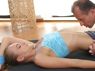 FitnessRooms Ivana Sugar has a full body and pussy stretch with fitness tra